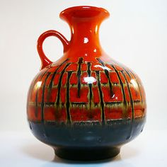 West german mid century pottery vase by Jasba in best condition
