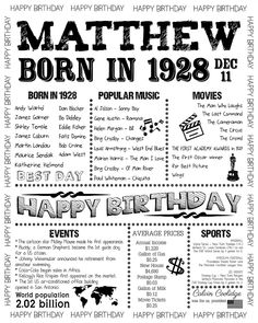 1928 Personalized Poster Birthday Poster Born in 1928 60th Birthday Theme, Birthday Party Games, The Man Who Laughs, Money Change, Vintage Newspaper, Cost Of Living, Atoms, Roaring Twenties, Popular Music