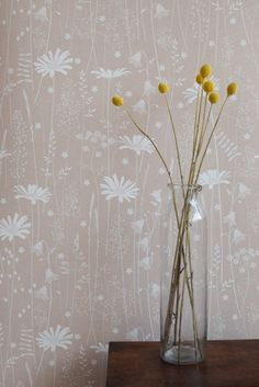 Daisy Meadow Wallpaper in Dusk                      – Hannah Nunn