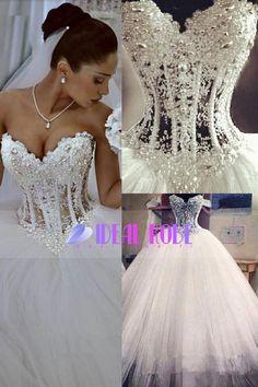 2016 magnifiques robes de mari�e A-ligne sweetheart See Through-parole longueur tulle avec perles Lace Up
