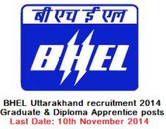 BHEL Uttarakhand recruitment 2014 Graduate & Diploma Apprentice posts
