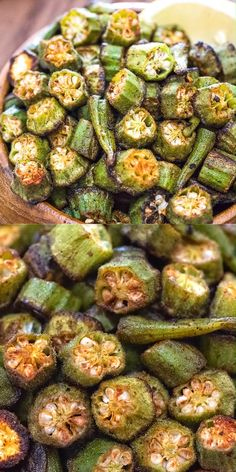 This is a simple, flavorful, and easy Baked Okra recipe. Seasoned with paprika, salt, and a pinch of Vegetable Recipes Easy Healthy, Healthy Side Dishes, Healthy Vegetables, Side Dish Recipes, Vegetable Dishes, Vegetarian Recipes, Dinner Recipes, Vegan Vegetarian, Veggies