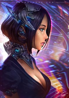 Cyberpunk android robotic cyborg woman face, in futuristic cyberpunk fashion costume scifi tech outfit, concept art female character design matte painting illustration artwork, dark, blade runner inspired purple neon fantasy girl in heavy armour with helmets guns and weapons, cyberpunk inspiration ideas