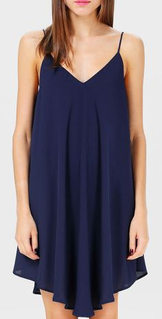 Navy Spaghetti Strap Backless Loose Dress