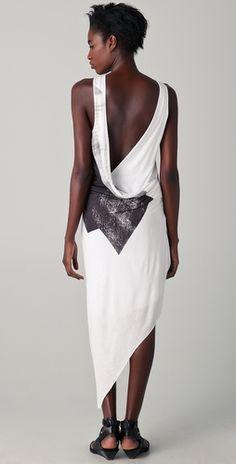 Trapezoid print dress. 100% viscose jersey. By Helmut Lang.