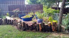 Log garden edging~ kinda like this.... & it would be free & chicken friendly. Hmmm....