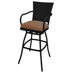 TobiasDesigns Erin Patio Bar Stool with Cushion Frame Finish: Black, Seat/Cushion Color: Brown Outdoor Chairs, Outdoor Furniture, Outdoor Decor, Patio Bar Stools, Seat Cushions, Brown, Frame, Color, Black