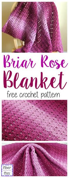 The Briar Rose Blanket is a gorgeous lacy blanket that is easy to stitch up.  Tonal ombre yarn shows off the stitches beautifully a...