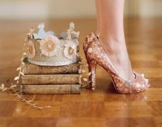 Princess - just so pretty! Love the glitter - kind of wondering if this idea would make a neat centerpiece (glittery shoe, pile of old books, and tiara)