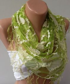 Green Lace and Elegance Shawl / Scarf by womann on Etsy, $17.90