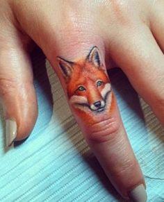 Fox tattoo on finger - 50  Examples of Fox Tattoo  <3 <3