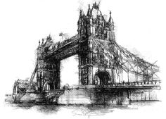 Last time I was in London I went along to get a view of Tower bridge in London. My shop © Bridge Drawing, London Skyline, Sketch A Day, Sketch Inspiration, Gcse Art, Watercolor Sketch, Pen Art, Uk Shop, Tower Bridge