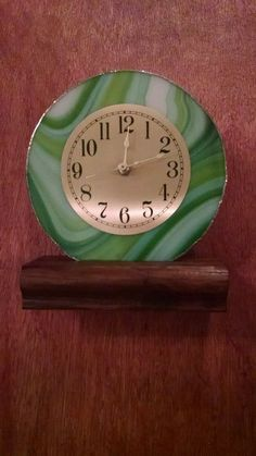 Beautiful Swirl Green With Gold Face Stained Glass Clock in Home & Garden, Home Décor, Clocks | eBay