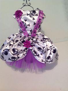 White with black skulls Halloween dog dress by Preciouspupboutique