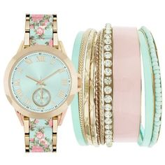 Jessica Carlyle Gold-Tone Womens Mint  Pink Floral Watch  Bangle Set -... (1.860 RUB) ❤ liked on Polyvore featuring jewelry, watches, accessories, bracelets, mint green watches, gold tone bangles, bangle watches, hinged bangle and mint jewelry