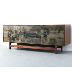 Watson Credenza by Elijah Leed | Oiled Walnut and Oxidized Spalted Maple | Dovetailed Drawers | Darkened Bronze Pulls