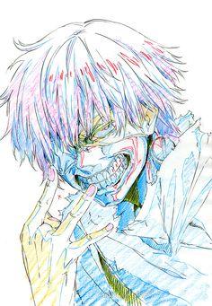 Tokyo Ghoul (東京喰種トーキョーグール) art work of Kaneki Ken by the anime character designer Kazuhiro Miwa (三輪和宏) in the doujinshi Anniversary.
