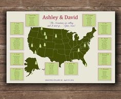 US National Parks Wedding Seating chart UNIQUE seating plan