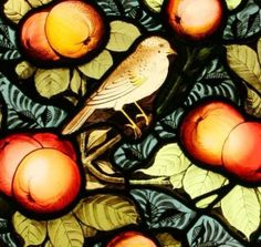 Bird & apples stained glass window, via Tomkinson Stained Glass