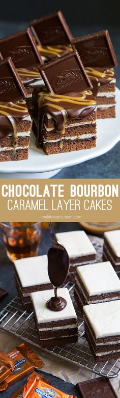 Mini Chocolate Bourbon Caramel Layer Cakes- bourbon soaked chocolate cake layered between caramel bourbon buttercream.
