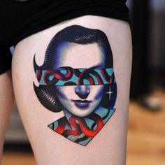 Made by David Peyote Tattoo Artists in Montreal, Canada Region Pop Art Tattoos, Trendy Tattoos, Tattoo Drawings, New Tattoos, Psychedelic Tattoos, Medusa Tattoo, Real Tattoo, Elephant Tattoos, Minimal Tattoo