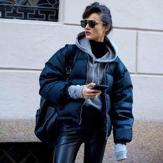 Black puffed jacket with hoodie
