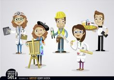Dibujos animados personas con diferentes puestos de trabajo