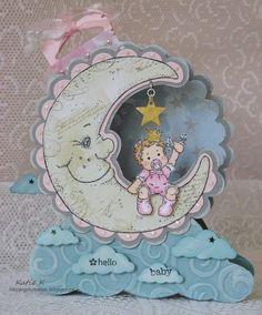 Tilda baby moon shaped card