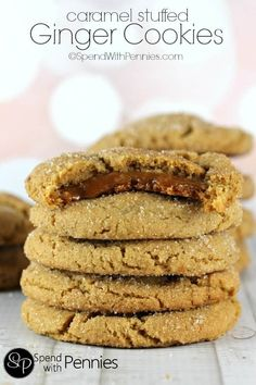Amazingly soft and chewy ginger cookies with a deliciously rich homemade caramel center! Perfect for snacking!