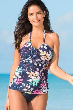 32352a4539 Jardin Scoop Tankini Top | HAPARI Navy Blue Suit, Navy Pink, Swim Bottoms,