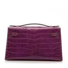 Hermes Niloticus Crocodile Kelly Pochette Bag ❤ liked on Polyvore featuring bags, handbags, croco handbag, croc bags, purple purse, purple handbags and croc handbags