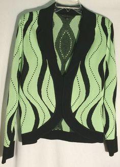 MING WANG Sweater/Jacket - Green and Black Print - Black Collar and Trim - Small #MingWang #Cardigan #ming #wang #sweatger #jacket #cardigan #blouse #green #black #knit #celery #small
