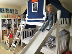 Maxtrix Medium bunk bed with slide and top tent is sure to put a smile on their face.