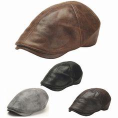 Flux Leather Flat Cap in 4 Kleuren 811cb9d7564
