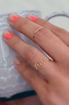neon geometric on nude nails