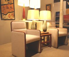 Hiden Gallieries: vintage Baker dining chairs with wool upholstery