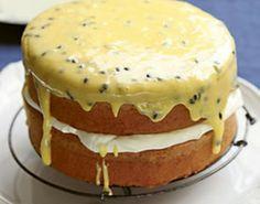 Classic Australian Sponge cake with passionfruit icing