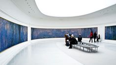 """Les Nympheas by Claude Monet.  Located in Musee de l'Orangerie, Paris. This is my all time favorite!  I cried the first time I saw it!  Water lilies in an installation that Monet himself designed.  The pieces are all six and half feet tall and the largest piece is 56 feet long. They are displayed in two elliptical rooms with filtered natural light. Visit the Musee de l""""orangerie website for a virtual video tour:  Select """"visite virtuelle"""" under """"Les Nympheas"""".  #Monet  #Orangerie…"""