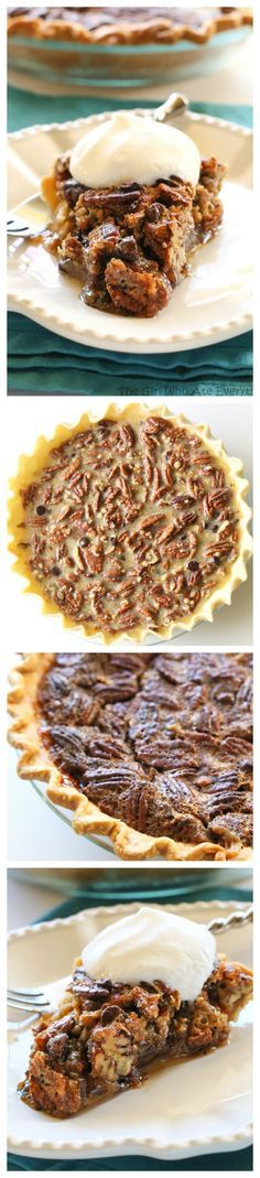 This Chocolate Pecan Pie is inspired from the delicious pie from The Roaring Fork restaurant. This is a twist on the traditional pecan pie with chocolate chips and toffee bits inside. the-girl-who-ate-everything.com