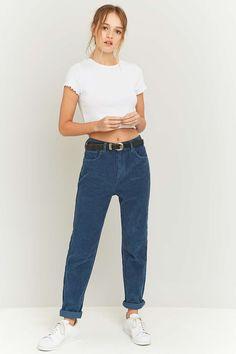 BDG – Mom Jeans aus Cord in Blau