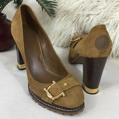 """Tory Burch Like New suede pumps Tory Burch Like New Wheat color suede pumps. Absolutely stunning gold bracket toe detail and rubber TB logs at heel. These are in excellent condition worn for a couple hours and only have two small scuffs as pointed out   Gold metal heel trim and a stacked wood 4 1/4"""" high heel. States size 9.5 I feel they are running true to size insoles measure Aprox 10.5"""" long. Great traction rubber soles Tory Burch Shoes Heels"""
