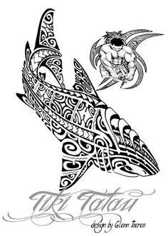 Modèle de Requin Maori pour Tattoo