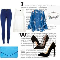 blue outtfit spring 2015 by gabi-prikrylova on Polyvore featuring Topshop, River Island, Kurt Geiger, Dorothy Perkins, Pandora, black, Blue, bluebag and Spring2015