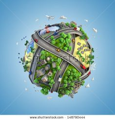 concept globe showing diversity, transport and green energy in a cartoon style - stock photo