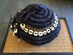 Basket. Wool, palm inflorescences, waxed linen thread, ostrich egg shell beads. Rebecca Lowell