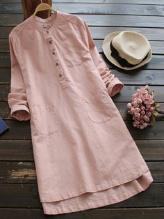 Pockets Simple 3/4 Sleeve Linen Solid Casual Dress