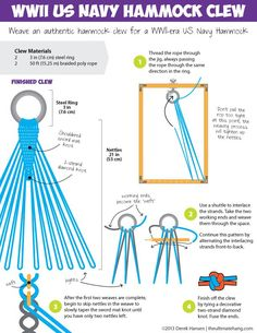 Use for rope on Hammock Chair so you don't have all the knots! Macrame Hammock Pattern