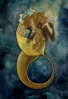Gold Mermaid  8x10 print by reneenault on Etsy, $12.00