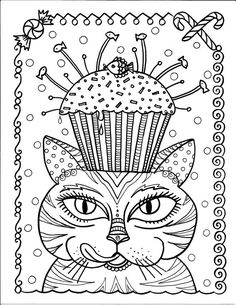 Instant Download Cat and Cupcake Art Coloring Page Cute Fun Funky Art to Color