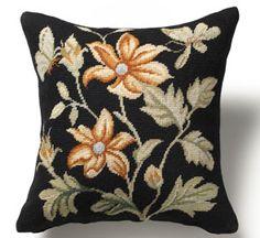 Black Floral Aubusson Pillow